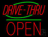 Drive-Thru Block Open Green Line Neon Sign