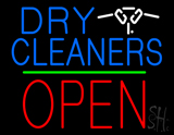 Dry Cleaners Logo Block Open Green Line Neon Sign