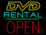 DVD Rental Open Block Green Line Neon Sign