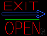 Exit Block Open Green Line Neon Sign