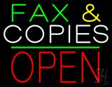 Fax and Copies Block Open Green Line Neon Sign