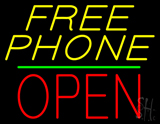 Yellow Free Phone Block Open Green Line Neon Sign