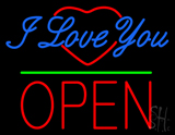 I Love You Logo Block Open Green Line Neon Sign