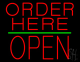 Order Here Block Open Green Line Neon Sign
