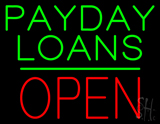 Payday Loans Block Open Green Line Neon Sign