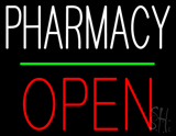 Pharmacy Block Open Green Line Neon Sign