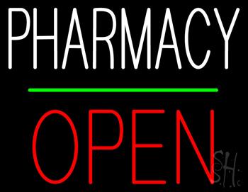 Pharmacy Block Open Green Line Neon Sign