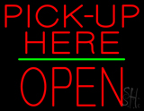Red Pick-Up Here Block Open Green Line Neon Sign