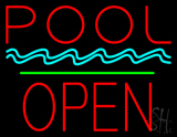 Pool Block Open Green Line Neon Sign