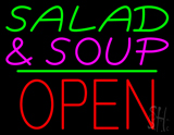 Salad & Soup Block Open Green Line Neon Sign