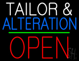 Tailor and Alteration Block Open Green Line Neon Sign
