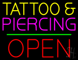 Tattoo and Piercing Block Open Green Line Neon Sign