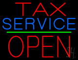 Tax Service Block Open Green Line Neon Sign