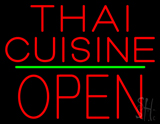 Thai Cuisine Block Open Green Line Neon Sign