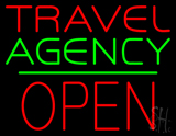 Travel Agency Open Block Green Line Neon Sign