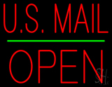 US Mail Block Open Green Line Neon Sign