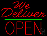 Red We Deliver Open Green Line Neon Sign