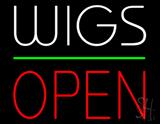 Wigs Block Open Green Line Neon Sign