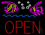 Fish Logo Block Open Neon Sign