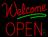 Red Welcome Open Green Line Neon Sign