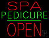 Red Spa Pedicure Block Open Neon Sign