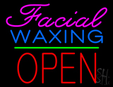 Cursive Pink Facial Waxing Block Red Open Neon Sign
