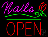 Pink Nails Block Open Green Line Flower Logo Neon Sign