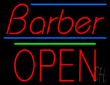 Barber Block Open Green Line Neon Sign