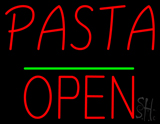 Pasta Block Open Green Line Neon Sign