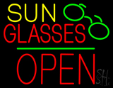 Sun Glasses Block Open Green Line Neon Sign