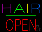 Multi Colored Hair Block Open Green Line Neon Sign