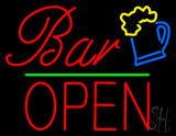 Bar Block Open Green Line Neon Sign
