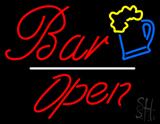 Bar Open White Line Neon Sign