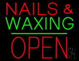 Nails and Waxing Block Open Green Line Neon Sign