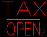 Red Tax Block Open Green Line Neon Sign