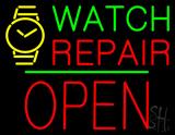 Watch Repair Block Open Green Line Neon Sign