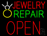 Jewelry Repair Block Open Neon Sign with Logo