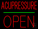 Acupressure Block Open Green Line Neon Sign