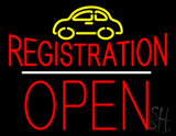 Auto Registration Open Block White Line Neon Sign
