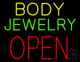 Body Jewelry Open in Block Neon Sign