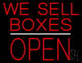 We Sell Boxes Block Open White Line Neon Sign
