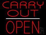 Carry Out Block Open White Line Neon Sign