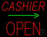 Cashier Block Open with Arrow Neon Sign