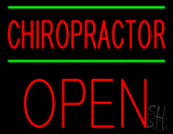 Red Chiropractor Green Lines Block Open Neon Sign