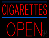 Red Cigarettes Open Block Neon Sign