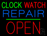 Clock Watch Repair Block Open Green Line Neon Sign