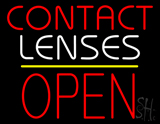 Contact Lenses Block Open Yellow Line Neon Sign
