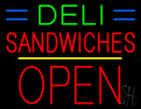 Deli Sandwiches Block Open Yellow Line Neon Sign