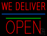 We Deliver Open Block Green Line Neon Sign