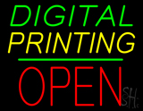 Digital Printing Block Open Green Line Neon Sign